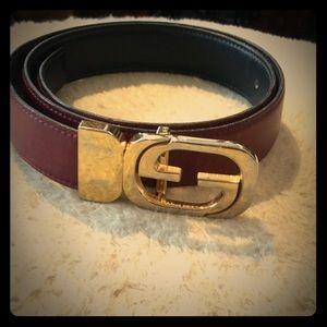 Vtg Gucci Leather Burgundy Belt